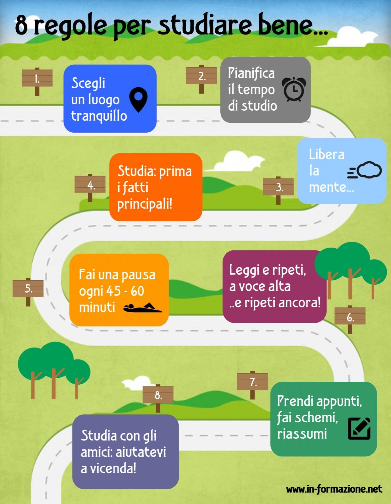 8 regole per studiare bene – infografica